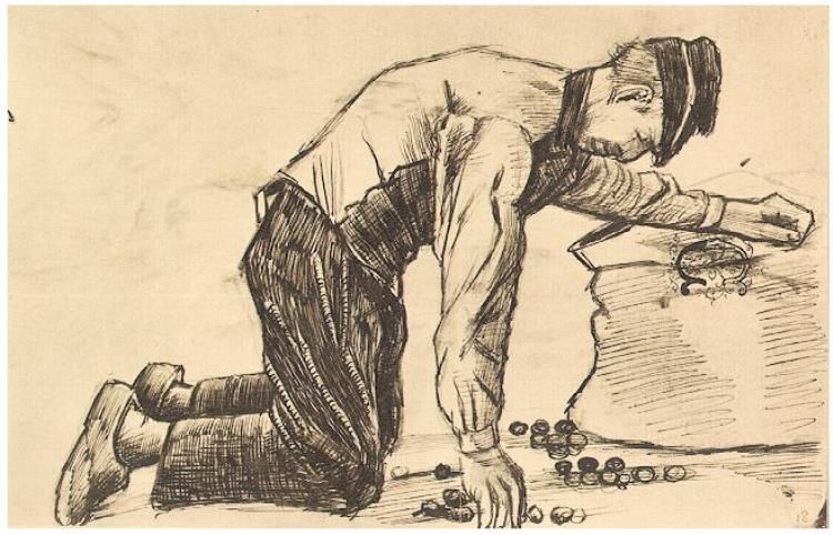 Man Putting Potatoes in a Sack Van Gogh Gallery Vincent van Gogh   Letter Sketches,   Etten: October, 1881 Van Gogh Museum  Amsterdam, The Netherlands, Europe  F: ;152, ;JH: ;60