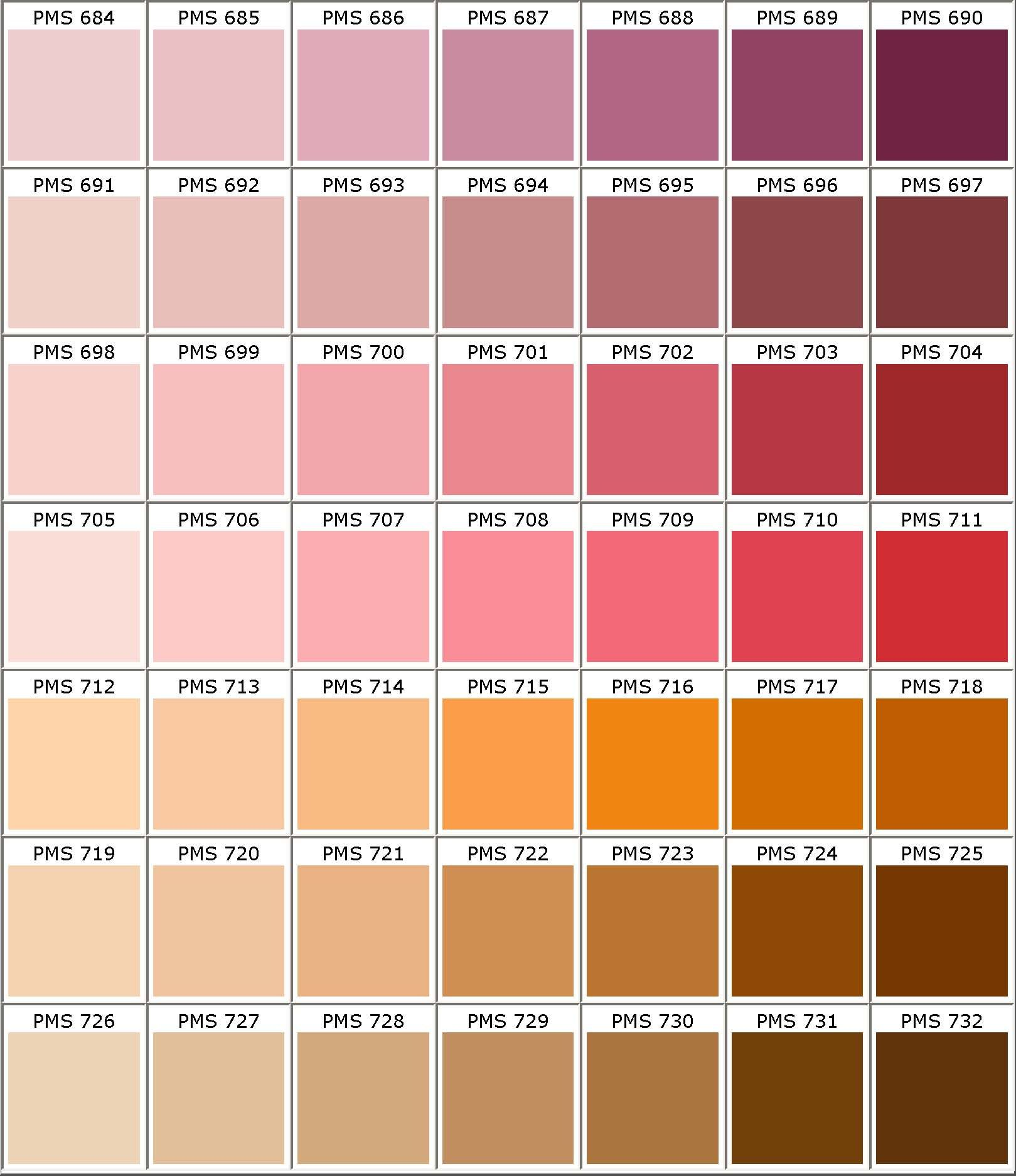 Pantone ® Matching System Color Chart PMS Colors Used For Printing ...