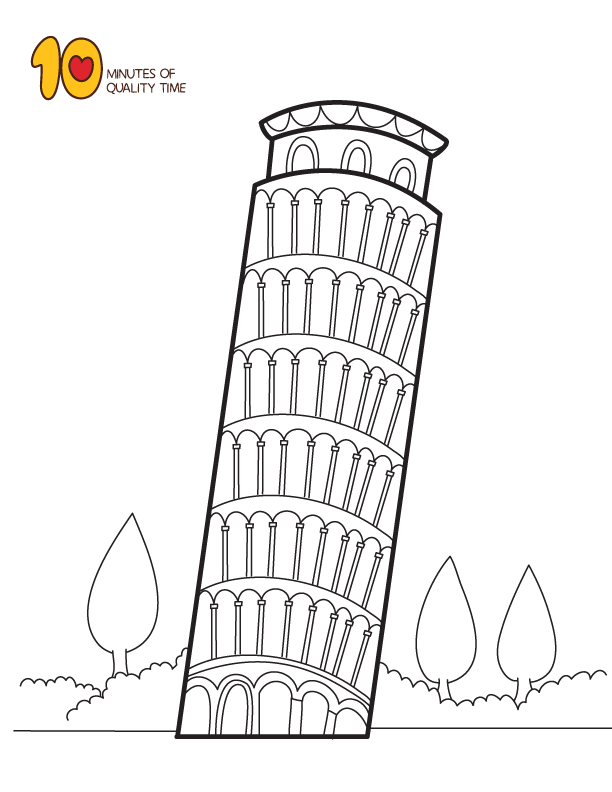 Leaning Tower Of Pisa Coloring Page Coloring Pages Leaning Tower Of Pisa Whale Coloring Pages