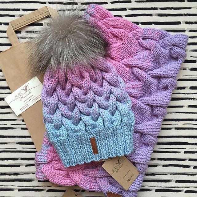 шапка с градиентом Knit Accessories вязаные шапки вязанная