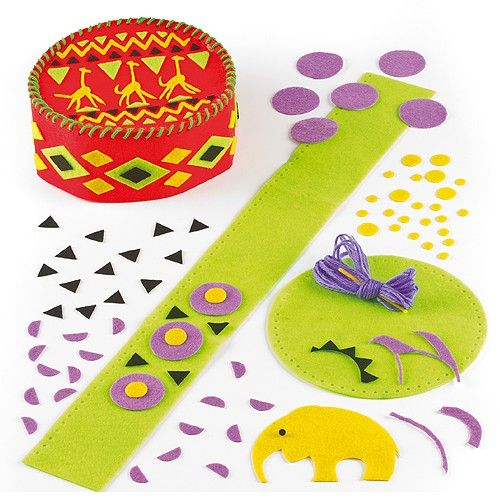 Kufi Hat Sewing Kits - Authentic African Kufi hats to sew and wear! Each easy to make kit includes pre-cut felt templates with pre-punched holes, self-adhesive felt pieces, plastic needle, yarn and instructions. 2 designs. Size 17.5cm diameter. Age 5+.