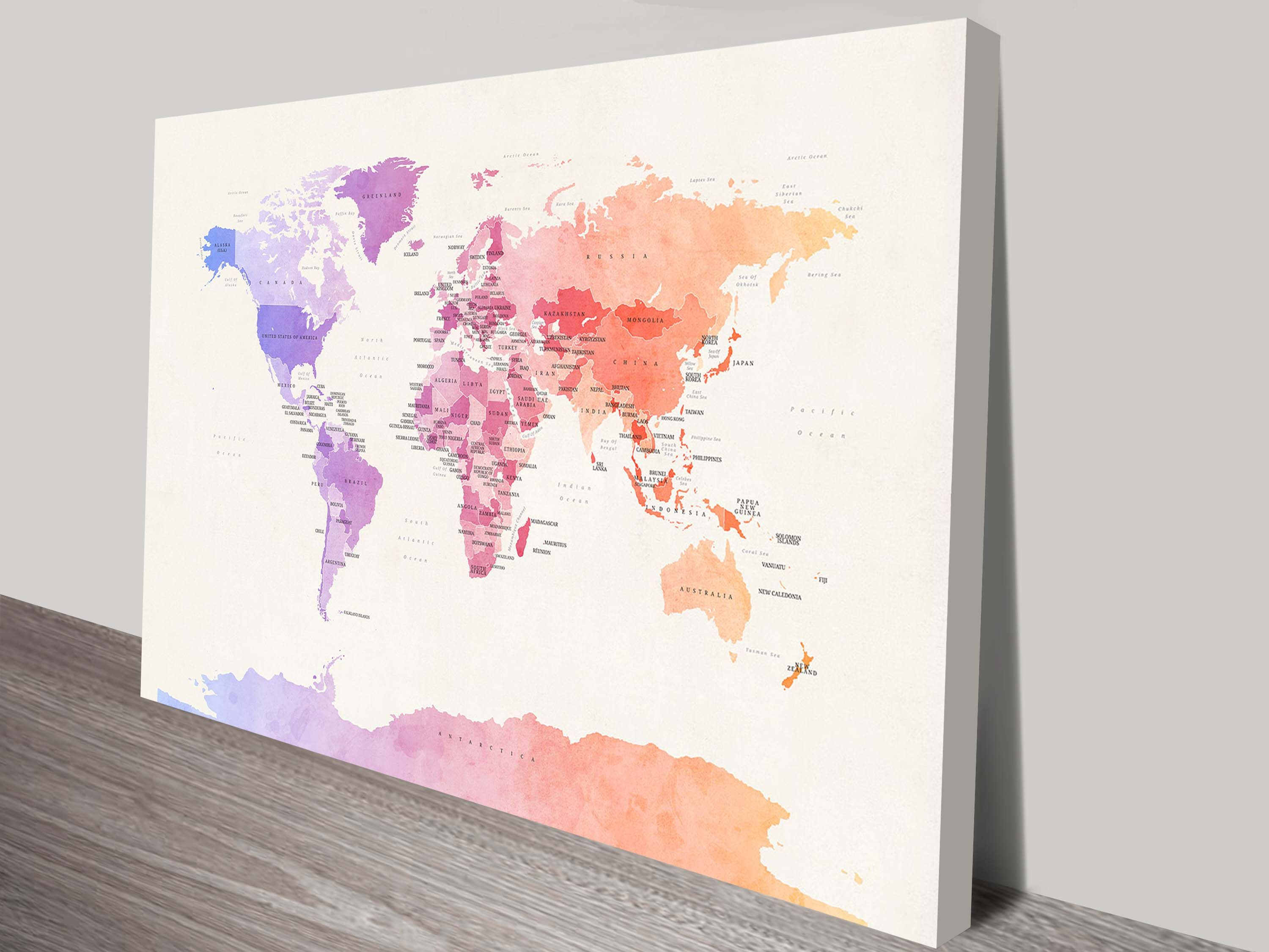 Political Watercolour World Map Michael Tompsett Art
