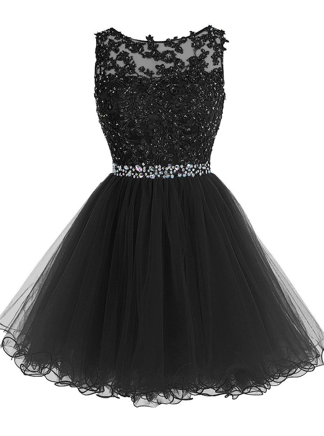 Sexy Black Short Prom Dress, Lace Prom Dress, Prom Party Gown, Short Beaded Prom Dress, Tulle Applique Evening Dress, Homecoming Dresses