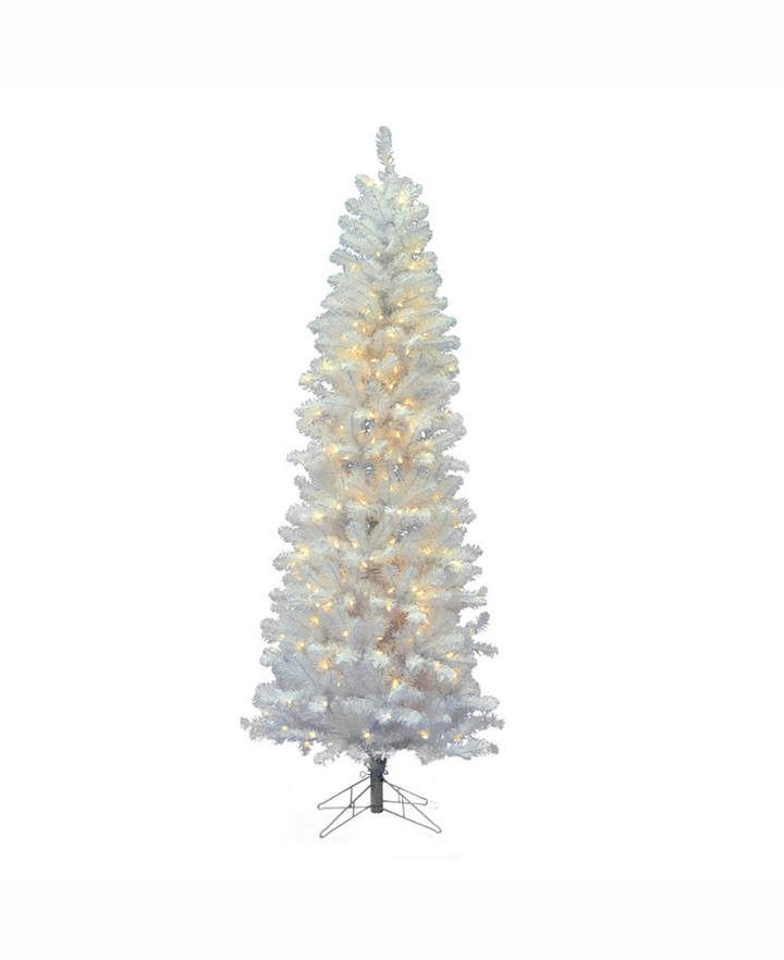 2525111fe11a Vickerman 6.5' White Salem Pencil Pine Artificial Christmas Tree with 250  Warm White Led Lights
