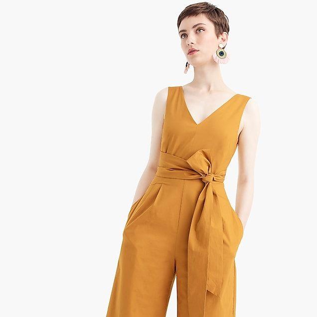 56de10f65c5 women s wrap-tie jumpsuit in stretch poplin - women s dresses size 6 ...