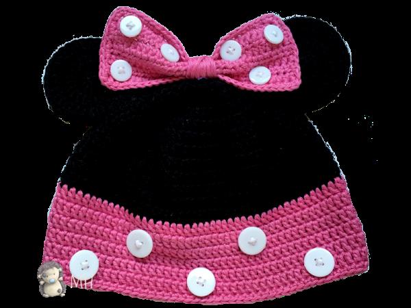 Gorro Minnie Mouse a crochet, ¡patrón gratis!