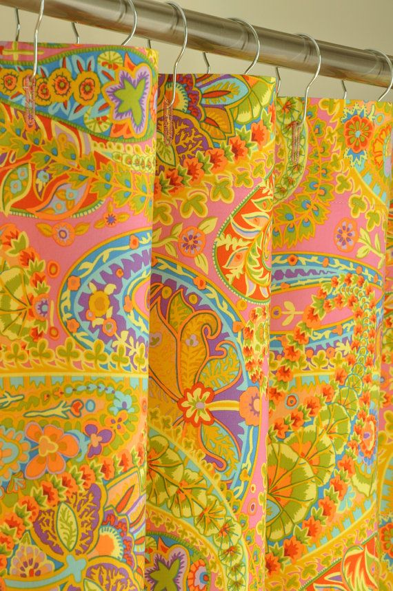 78 Long Pink Paisley Shower Curtain 72 X By PondLilly On Etsy 13499