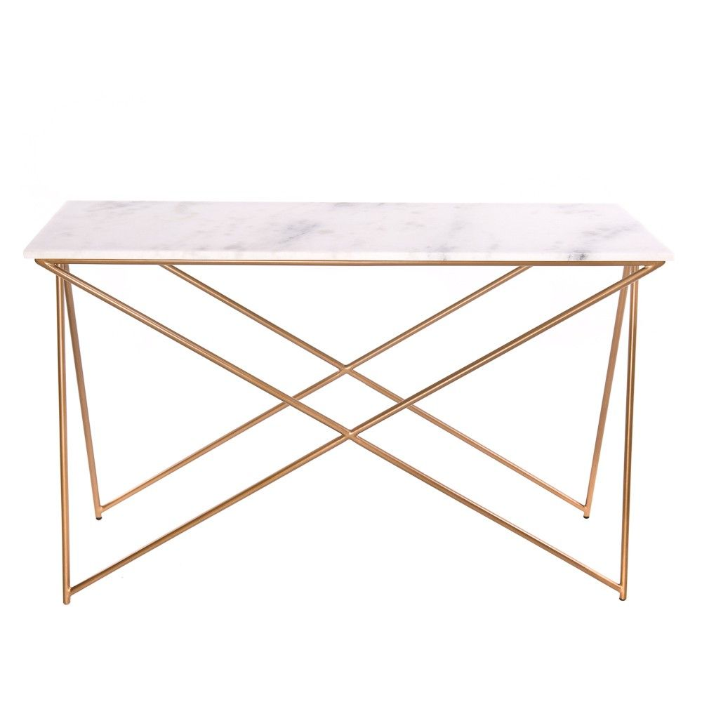 Beautiful Stellar White Marble Console Table