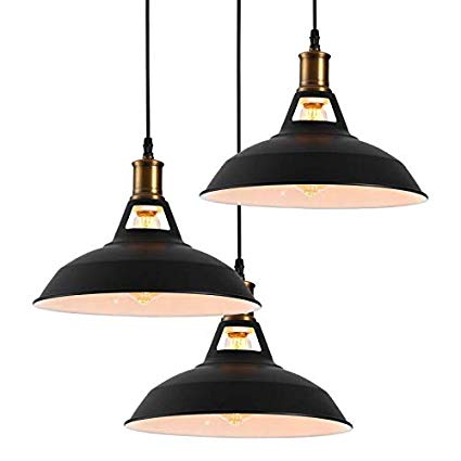 Homiforce Vintage Style 3 Light Black Pendant Light With Metal Shade In Matte Black Finish Moder Black Pendant Light Industrial Ceiling Fan Light Pendant Light