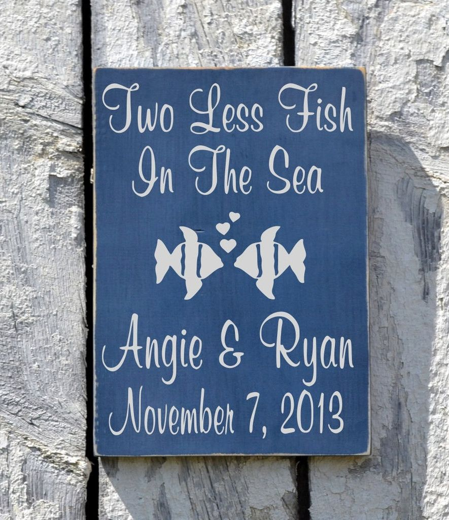 Personalized Wedding Sign Beach Outdoor Lake Weddings Gift Cobalt Blue Rustic Wood Signs Shower Table Summer