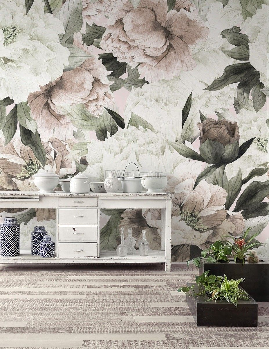 Boho Watercolour Botanical Sample or Order by the Roll Ships from USA Pink Gold Lilac Roses Floral Wallpaper Peel /& Stick for Decor Crafts