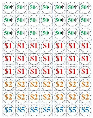 Ol1025 1 Circle Pricing Labels For Garage S 50 Cents 5