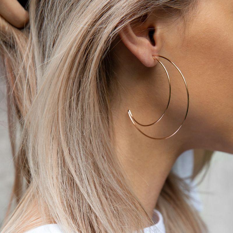Moon Big Hoop Earring Geometric Earring For Wedding For 22 99 Dazzleluna Big Hoop Earrings Geometric Earrings Diamond Earrings Studs