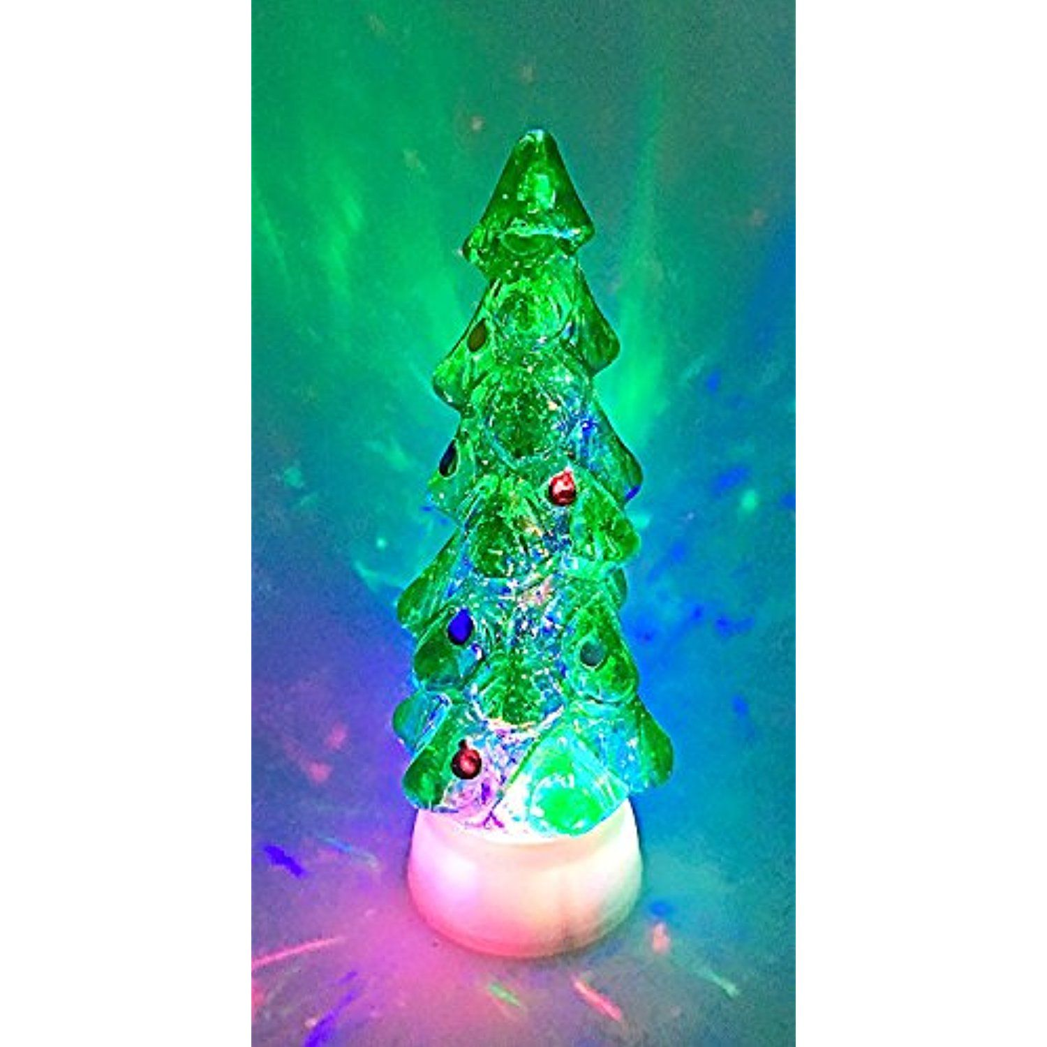 Christmas Tree Swirl Dome Snowglobe With Color Changing LED Light Up ...