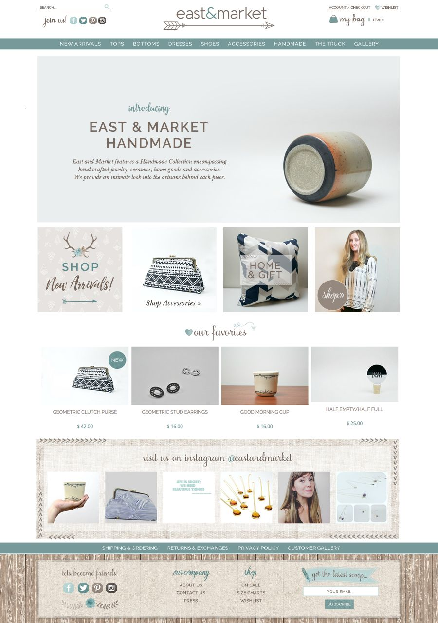 East Market Handmade Web Design E Commerce For Hand Made Accessories Website Shopify Website Design Boutique Accessories