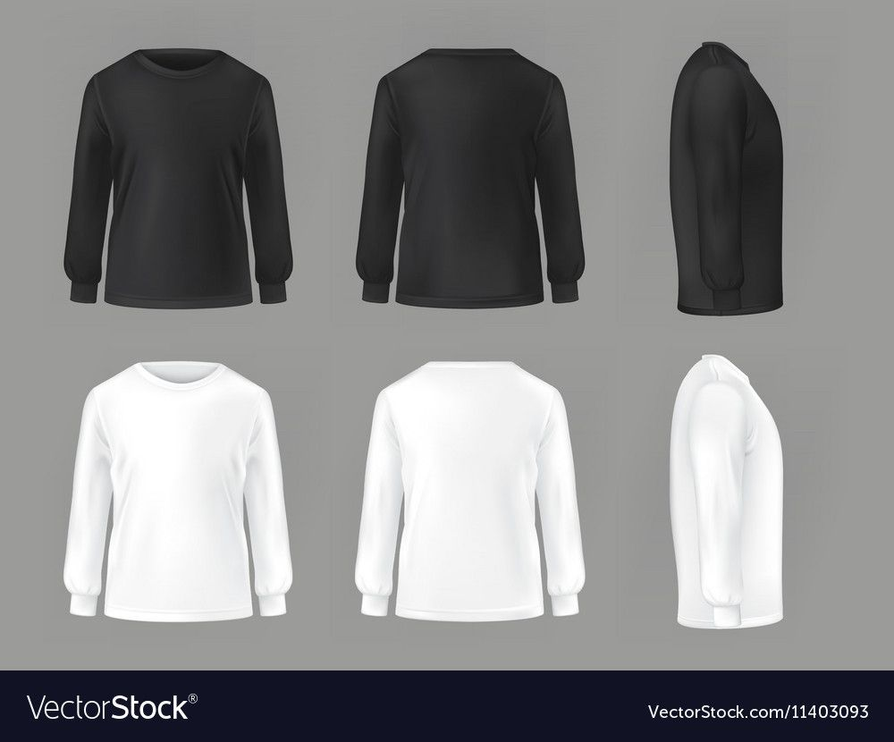 Download Vector Set Template Of Male T Shirts With Long Sleeve Front Side Rear Download A Free Preview Or High Quality Adobe Ill Clothing Mockup Male T Shirt Fashion