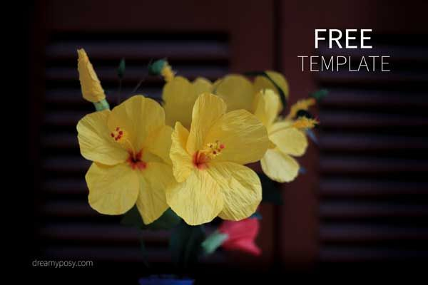 How To Make Hibiscus Paper Flower With Free Templates Easy To