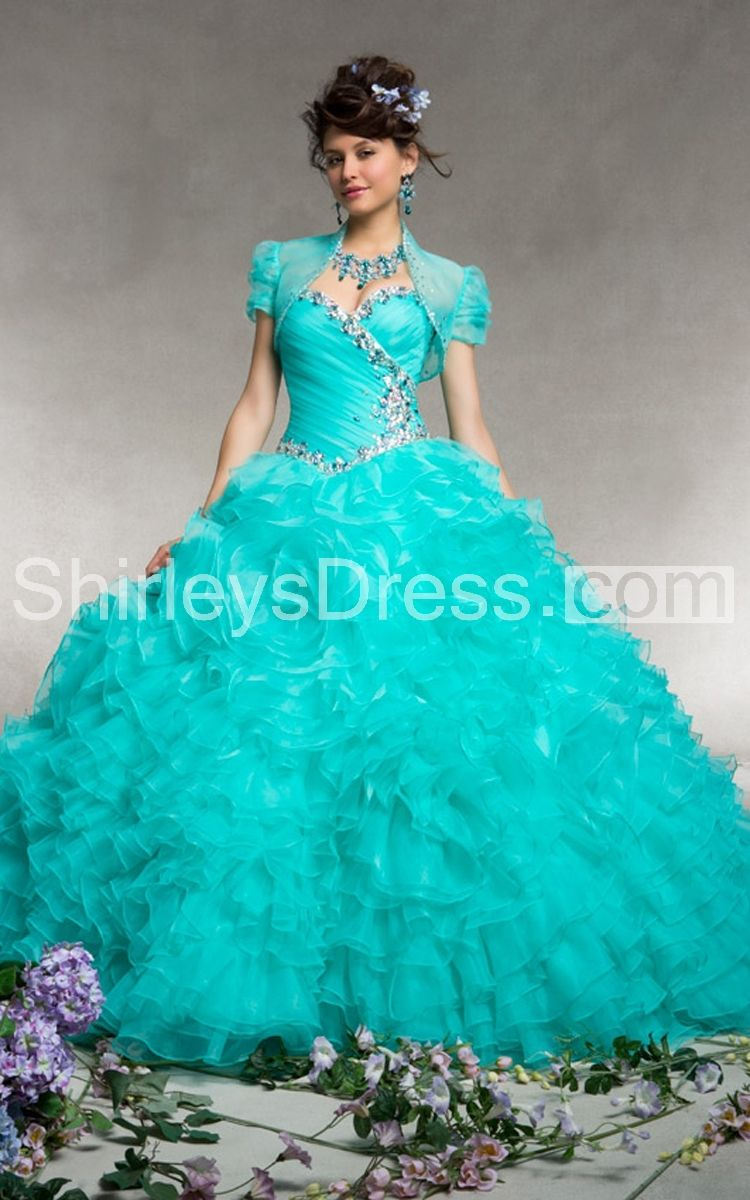 Grand Ruffled Quinceanera Dress with Short Sleeves Jacket | prom ...