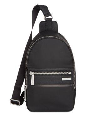 6800aaf12 Calvin Klein Men's Leather-Trimmed Sling Bag - Black | Products ...