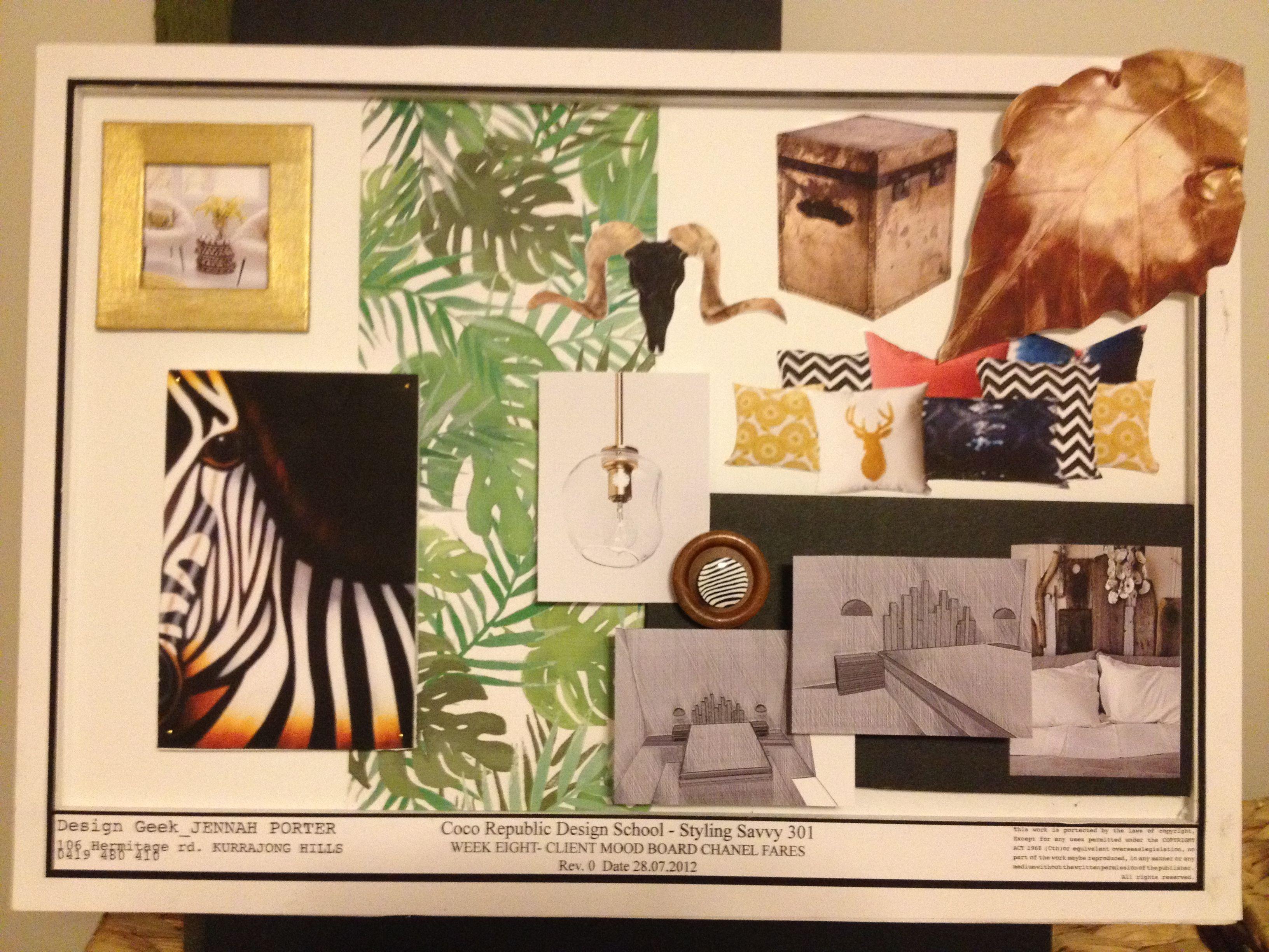 Safari bedroom mood-board.