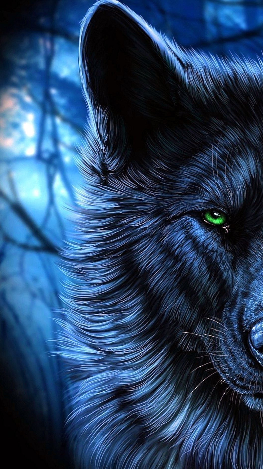 Wolf Wallpapers For Iphone 7 Plus Wolf Wallpapers Pro Eyes Wallpaper Wolf With Blue Eyes Wolf Painting