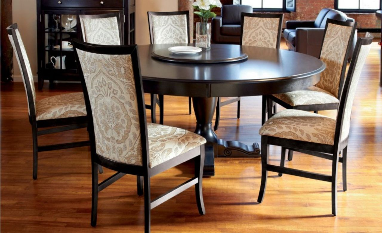 Inch Round Dining Room Tables Vintage Modern Furniture - 60 inch round dining room table sets