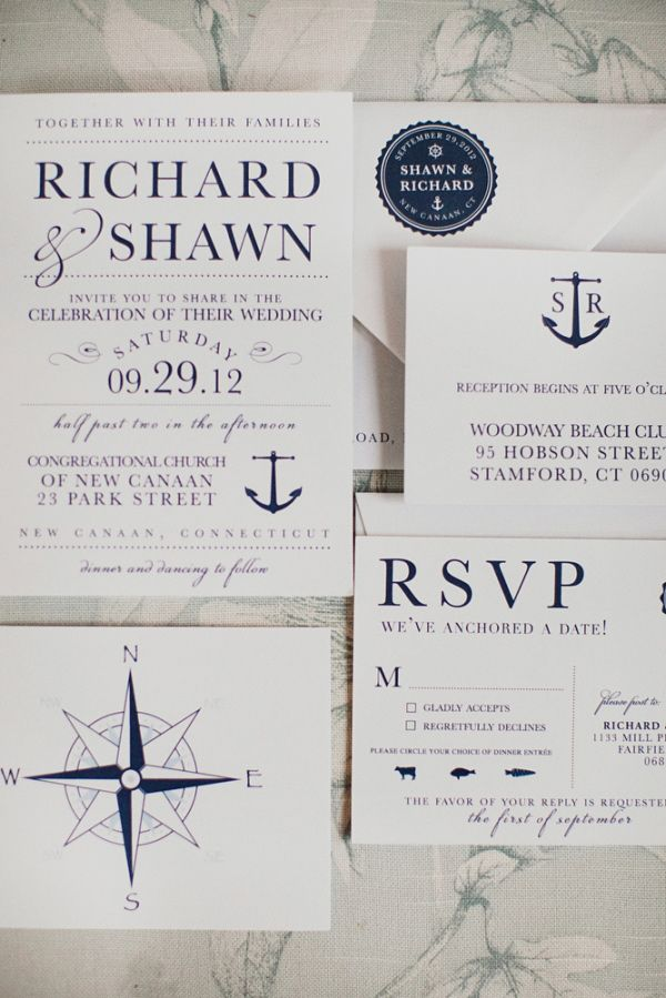Nautical Wedding Invitations.Nautical Connecticut Wedding Wedding Invitations Paper Goods