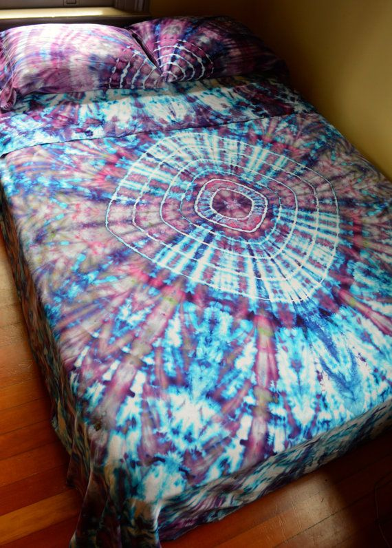 1eb62a78f2d3df Hand Dyed Tranquillity Queen Sheet Set In Soft Tie Dye Colors ...
