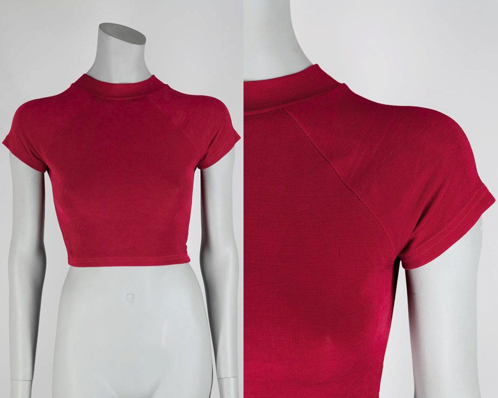 Vintage 90s Crop Top / 1990s Cherry Red Ribbed Stretch Cropped Top XS by FloriaVintage on Etsy