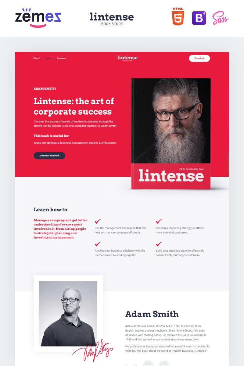 Lintense Book Store Writer Html Landing Page Template Landing