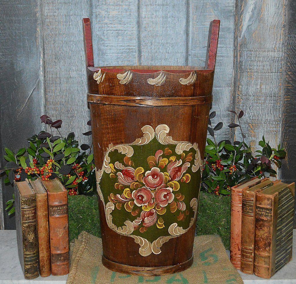 Antique German Wood Umbrella Stand Hand Painted Floral Bucket Floral Painting Umbrella Stand Painting