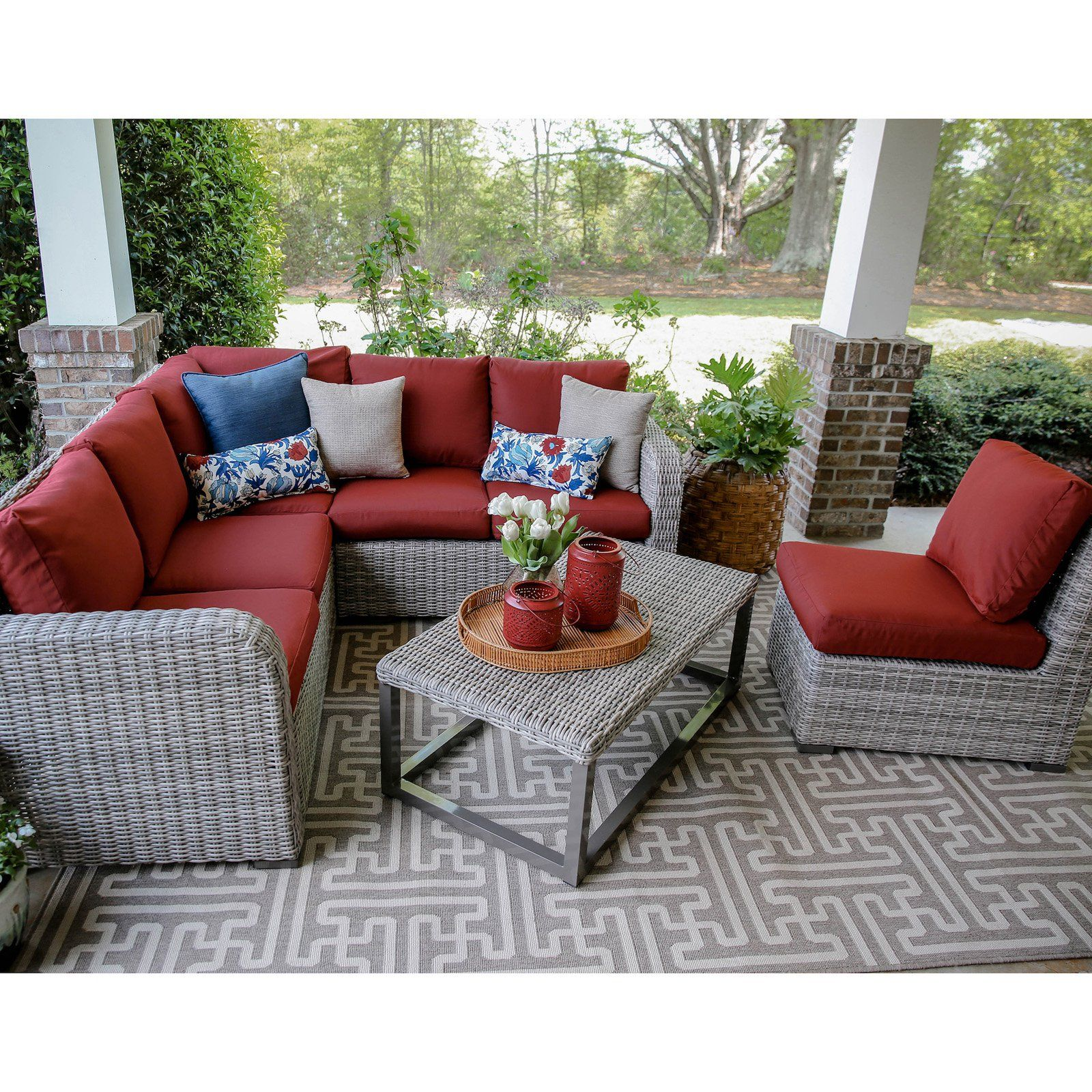 Outdoor Leisure Made Forsyth Wicker 5 Piece Corner Sectional Patio