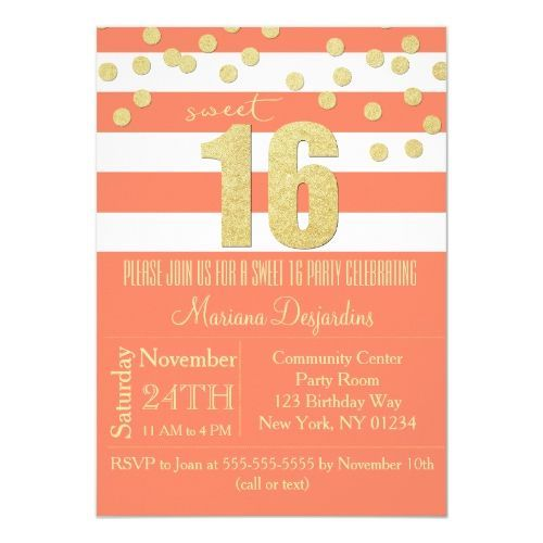 Coral Sweet 16 Birthday Party Invitation Gold #sweet16birthdayparty Coral Sweet 16 Birthday Party Invitation Gold #sweet16birthdayparty