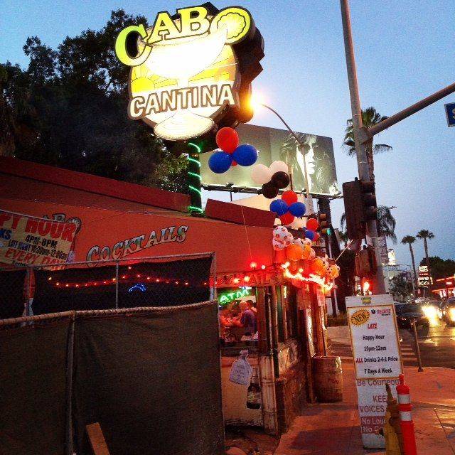 Have a refreshing margarita while looking at the pretty people at Cabo Cantina on Sunset Blvd in West Hollywood.  http://glitteratitours.com/tours/