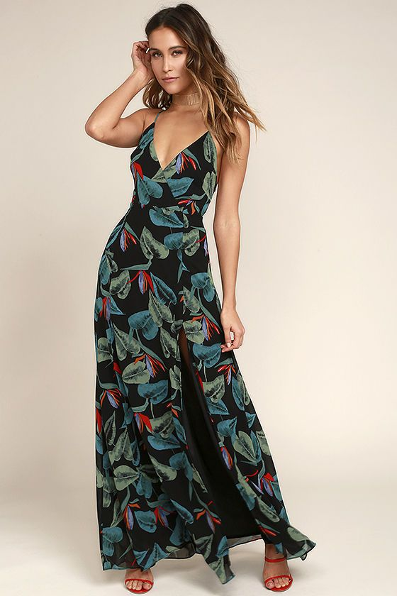 3d64e4e797a Slip into the Birds of Paradise Black Floral Print Maxi Dress and escape to  a tropical oasis! Lightweight woven poly