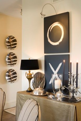 Paint a canvas black and add some white or an intense color.  Source: Joy Trubout
