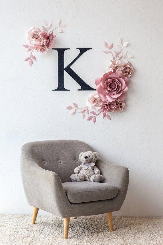 Personalisierte Kinderzimmer Wand-Dekor - Papier Blumen Wand-Dekor in rosa - personalisierte Kindergarten Zeichen
