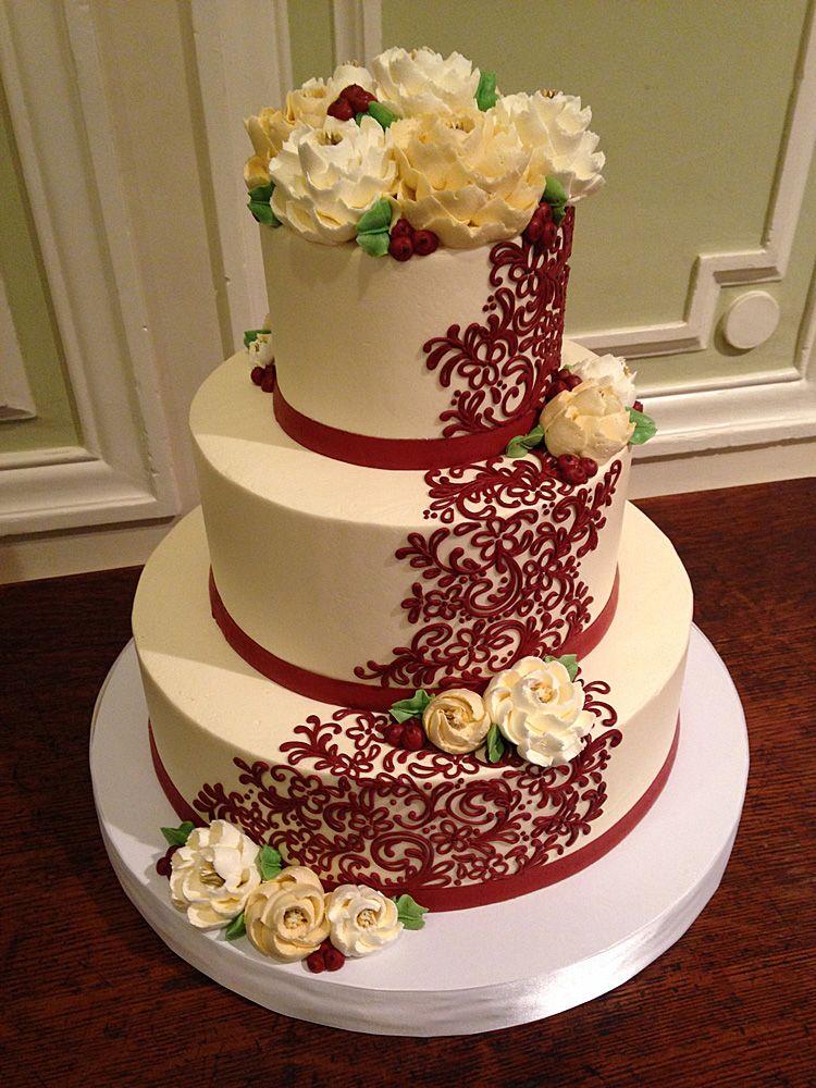 Classic Wedding Cakesold version Burgundy wedding cake