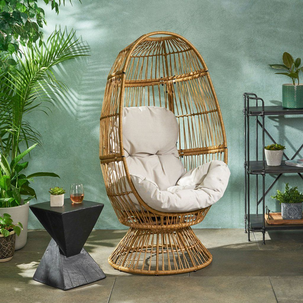 Aceson Outdoor Wicker Swivel Egg Chair With Cushion In 2020