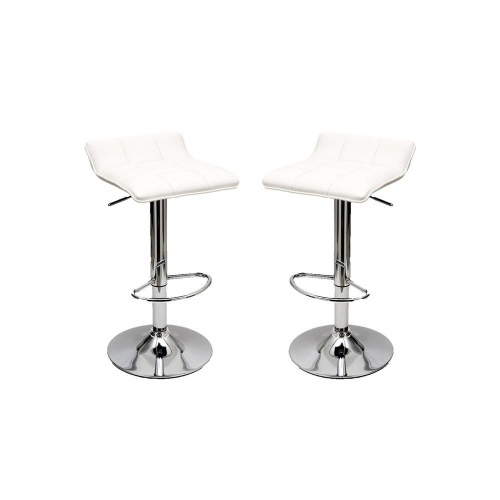 Manhattan Comfort Sleek Varick White Barstool With Height Adjustability Set Of 2 Mc 635 White Bar Stools Bar Stools Swivel Bar Stools