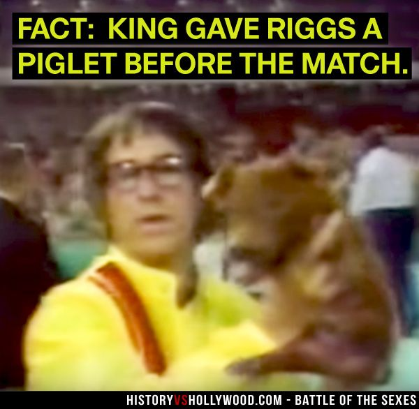 Bobby Riggs Holds Up The Piglet Given To Him By Billie Jean King At Their Battle Of The Sexes Match See More Pics H Billie Jean King True Stories Bobby Riggs
