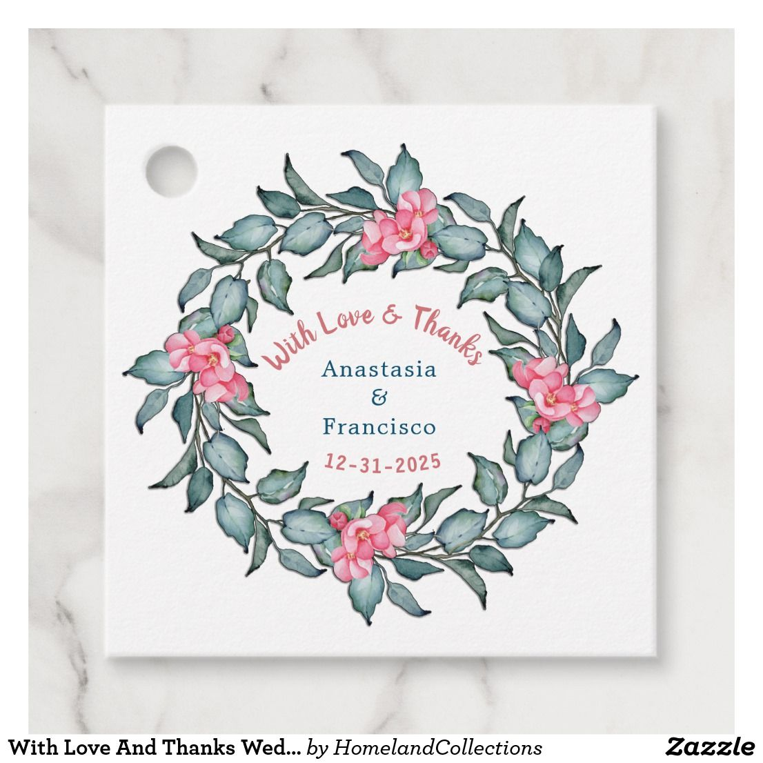 Download With Love And Thanks Wedding Anniversary Favor Tags ...
