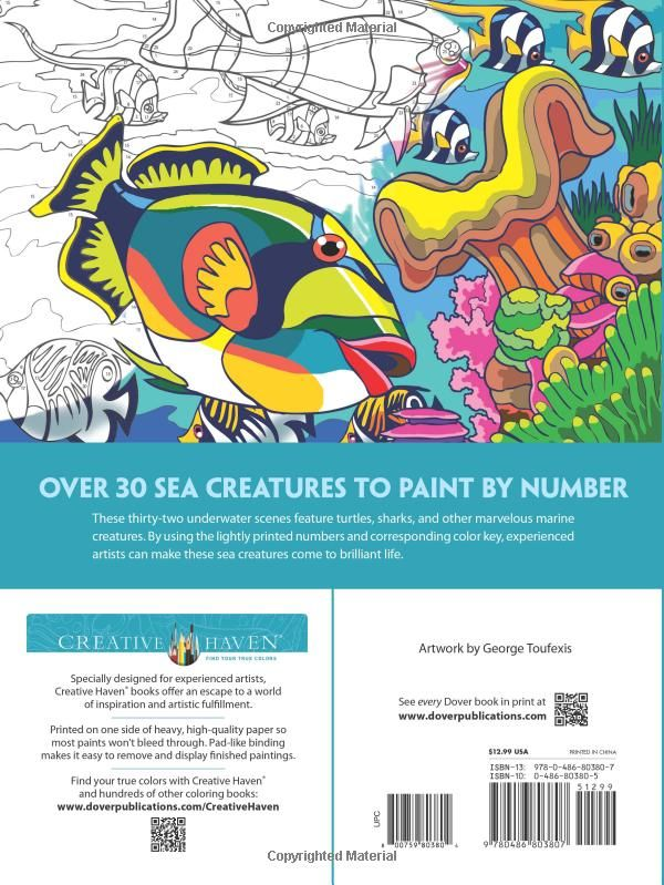 Creative Haven Sea Life Paint By Number Adult Coloring George Toufexis 0800759803804