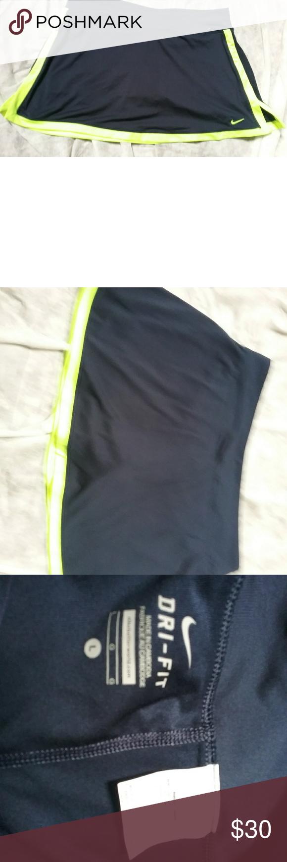 Nike Border Tennis Skort Navy Neon Yellow | Tennis skort