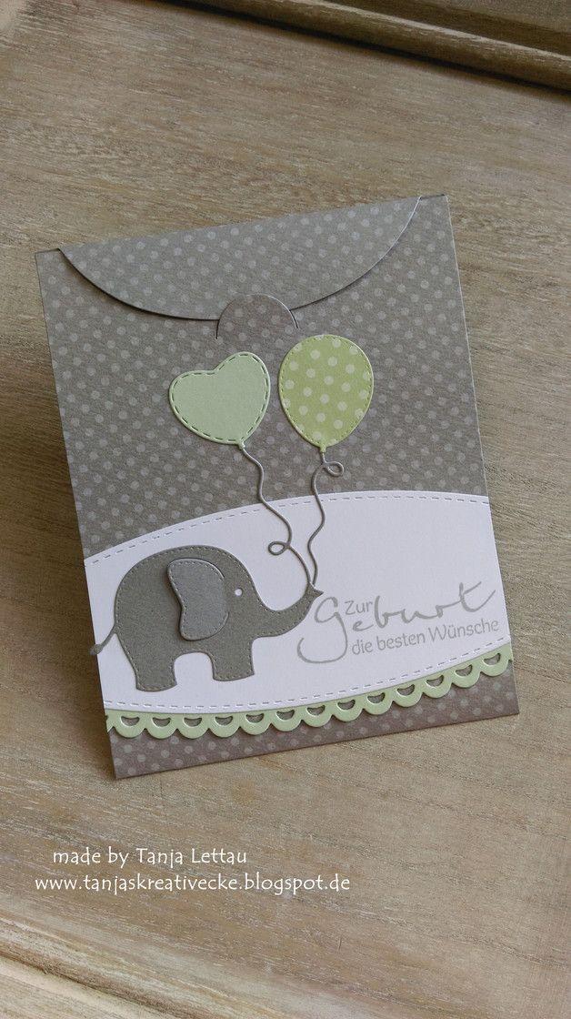 Glückwunschkarten - Süße Klappkarte mit Lasche zur Geburt - ein Designerstück von Tanjas-Kreativecke bei DaWanda #briefumschlagbasteln