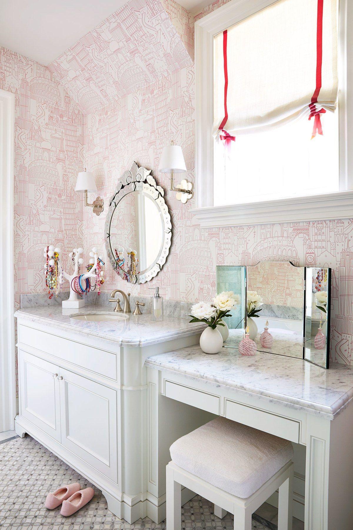 In the daughter\'s bath, Clarke & Clarke\'s Globetrotter wallpaper ...