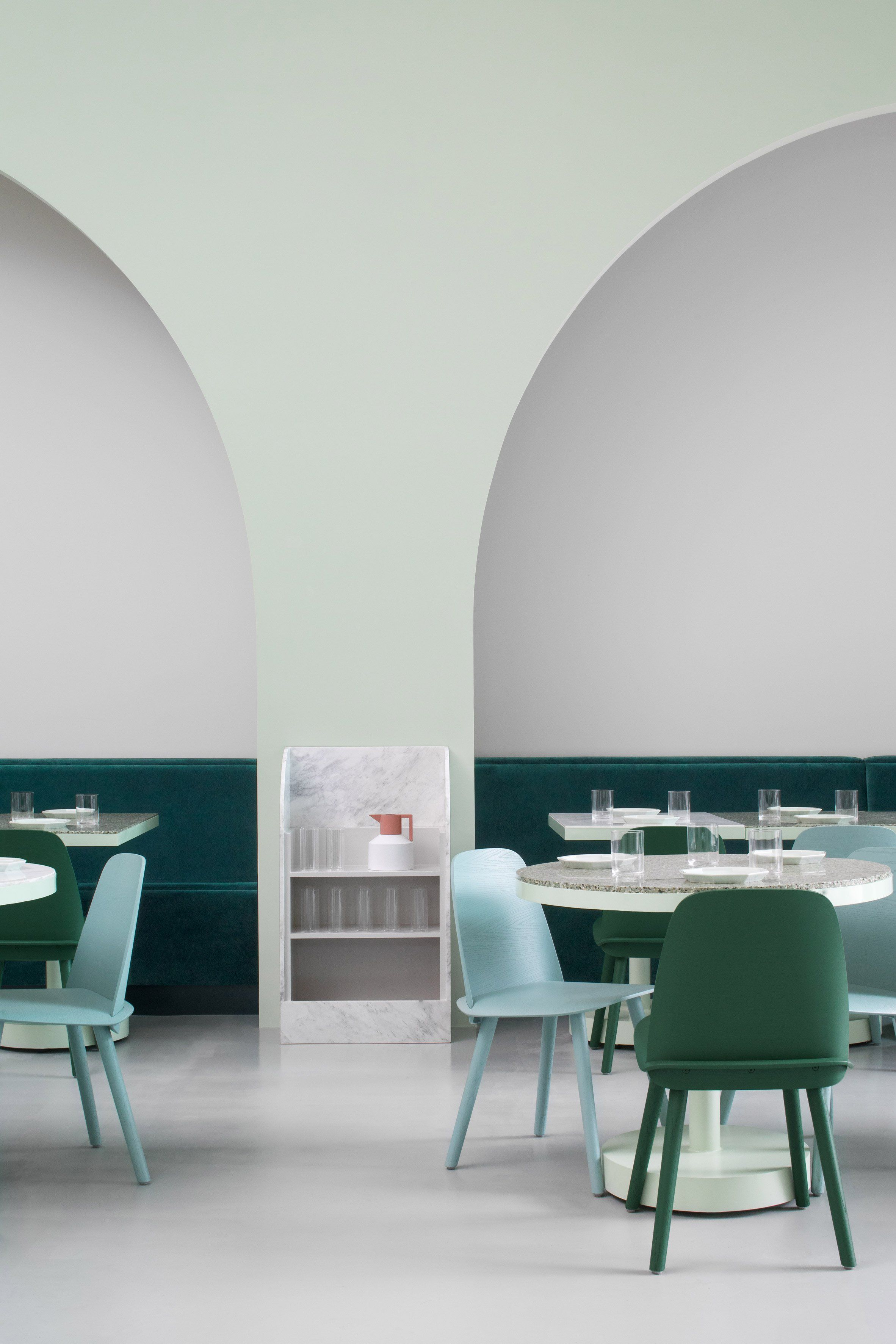 chengdu cafe features interiors inspired by wes anderson movie - Marble Cafe Decoration