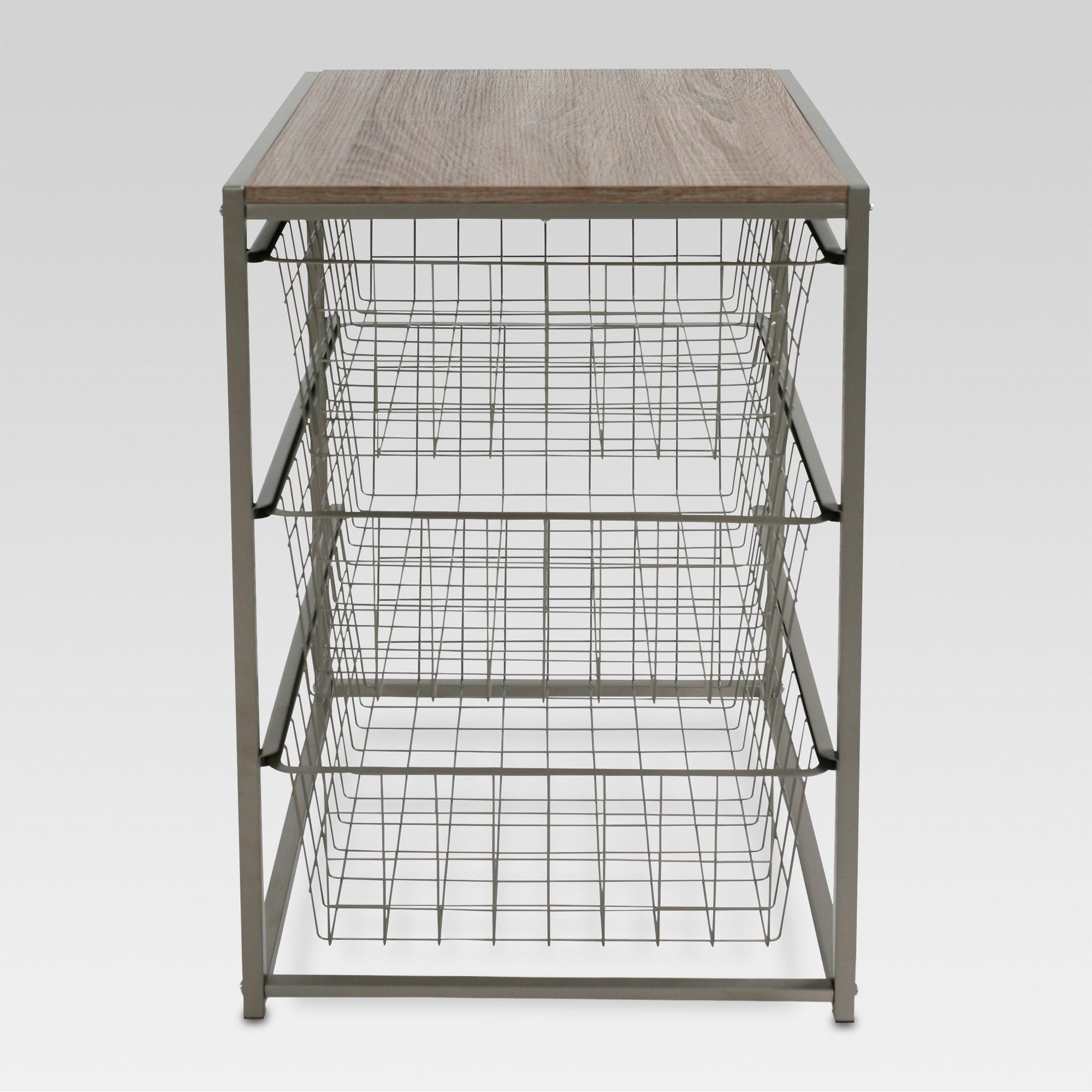 Wooden Hamper//Storage Organizing Unit with 3 Cloth Drawers