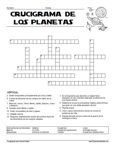 Crucigrama de los Planetas para Imprimir Gratis | Proyecto en ...