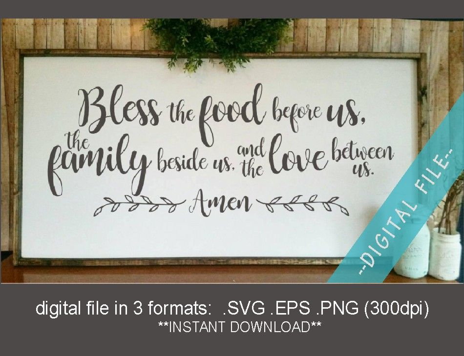 Bless The Food Svg Bless Svg Farmhouse Style Svg Etsy In 2020 Kitchen Sign Diy Bless The Food Prayer Signs